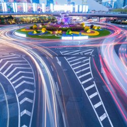 roundabout of shanghai downtown cityscape at night